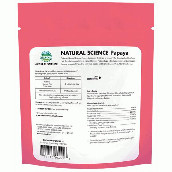 Toko Kelinci Bakpao Rabbit Oxbow Natural Science Papaya Support 33g